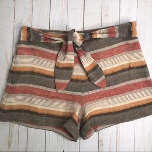 Anthro Elevenses Linen Striped shorts Sz 4